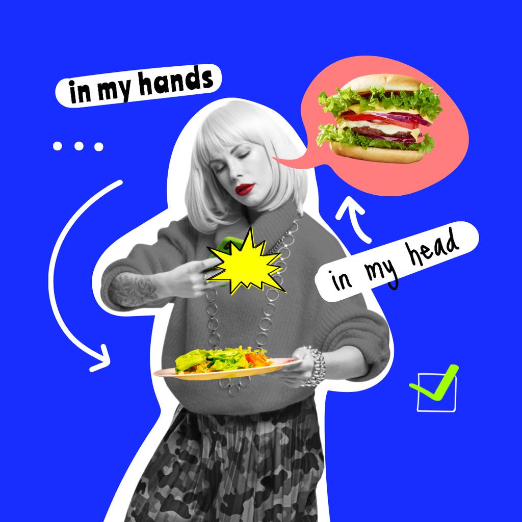 Template di design Woman dreaming of Delicious Burger Instagram