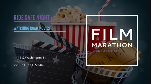 Plantilla de diseño de Film Marathon Night with popcorn FB event cover