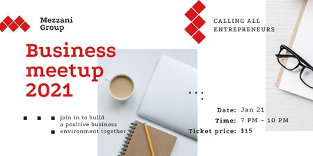 Plantilla de diseño de Business Meetup with Tablet and Coffee on Table Twitter