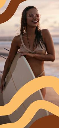Ontwerpsjabloon van Snapchat Geofilter van Woman with surfboard at the beach