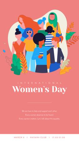 Ontwerpsjabloon van Instagram Video Story van 8 March Day Greeting Diverse and Supportive Women