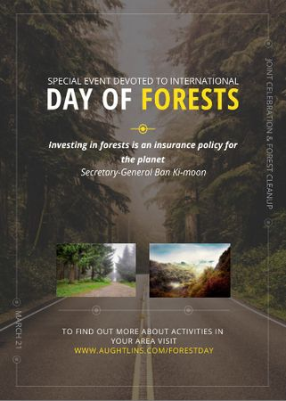 Template di design International Day of Forests Event Forest Road View Invitation