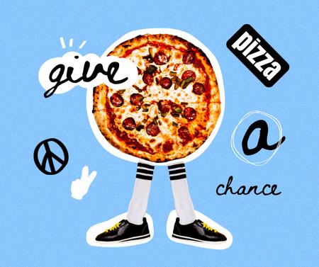 Ontwerpsjabloon van Facebook van Funny Illustration of Pizza with Legs