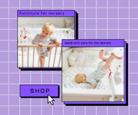 Cute Little Child in Cot Large Rectangle – шаблон для дизайну