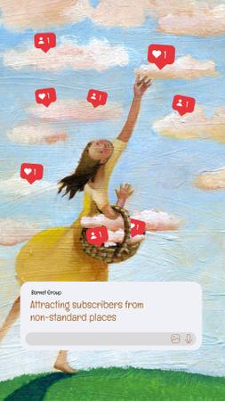 Funny Illustration of Girl gathering Social Media Likes Instagram Story Modelo de Design