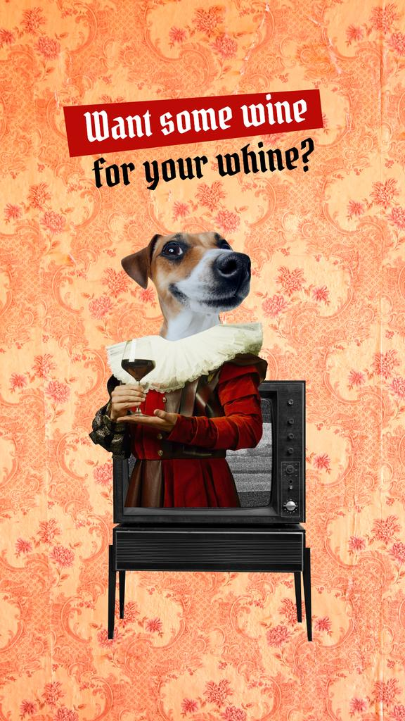 Funny Dog with Wine in Antique Costume Instagram Story Modelo de Design