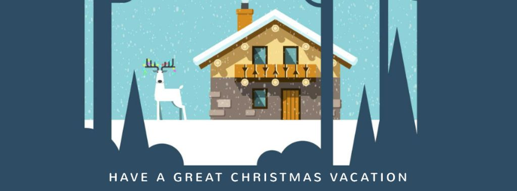Christmas deer by house in winter — Crea un design