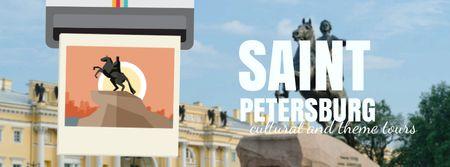 Saint Petersburg famous travelling spots Facebook Video cover Design Template