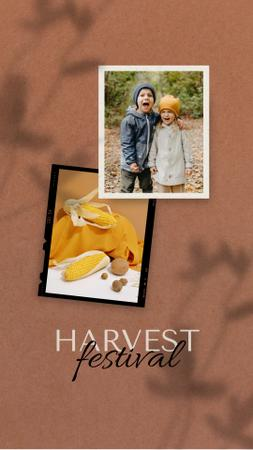 Harvest Festival Announcement with Cute Kids Instagram Video Story Design Template