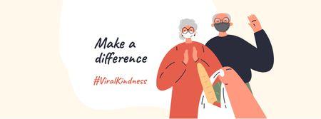 #ViraKindness Elder Couple with Groceries Facebook cover Design Template