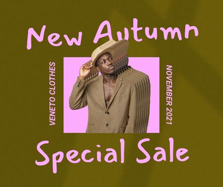 Autumn Sale Announcement with Stylish Young Guy Facebook – шаблон для дизайна