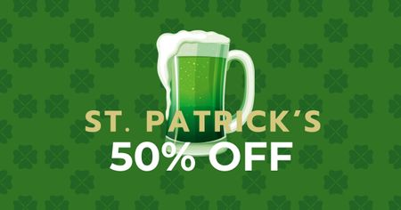 Modèle de visuel St. Patrick's Day Offer with Beer - Facebook AD