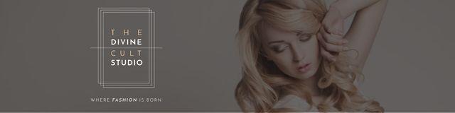 Szablon projektu Beauty Studio Ad with Attractive Blonde Twitter