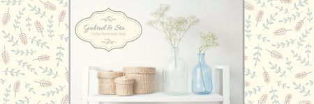 Home Decor Advertisement with Vases and Baskets Twitter Modelo de Design