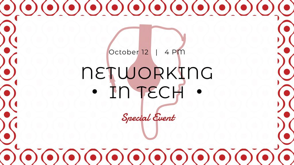 Plantilla de diseño de Technology Event Ad with Man in Headphones FB event cover