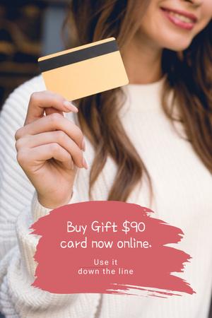 Plantilla de diseño de Gift Card Offer with Smiling Woman Pinterest