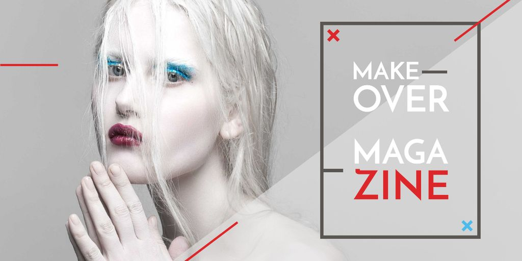 Fashion Magazine Ad with Girl in White Makeup Image Design Template