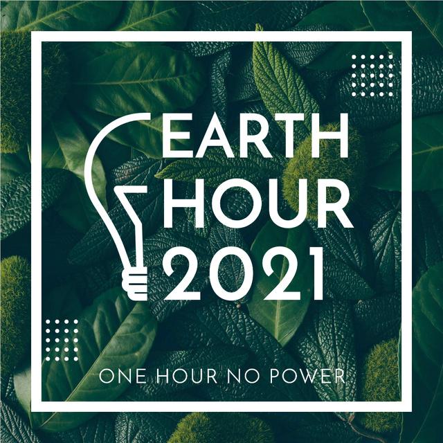 Designvorlage Earth hour event of green leaves für Instagram AD