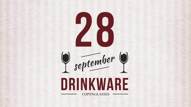 Plantilla de diseño de Drinkware Sale Glass with red wine FB event cover