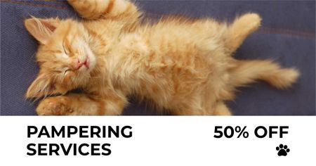 Designvorlage Pets Pampering Services Offer with Sleeping Kitty für Facebook AD