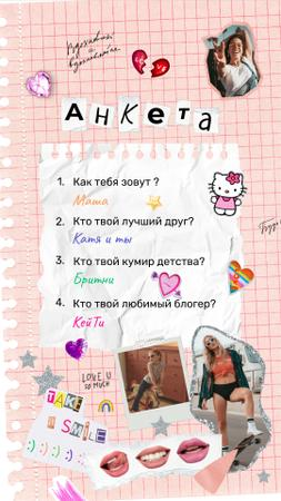 Cute Questionnaire with Funny Stickers Instagram Video Story Modelo de Design