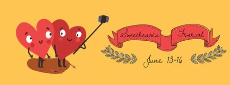 Ontwerpsjabloon van Facebook Video cover van Hearts taking Selfie on Valentine's Day