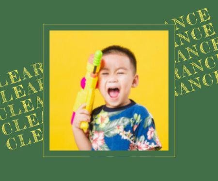 Plantilla de diseño de Cute Crying Child holding Water Gun Large Rectangle