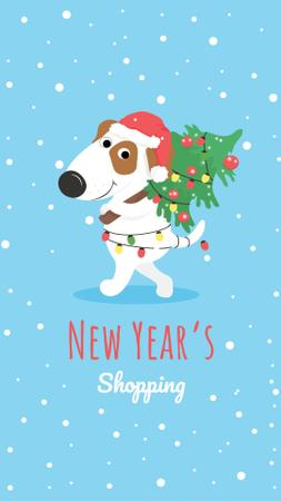 New Year's Shopping Announcement with Cute Puppy Instagram Story – шаблон для дизайну