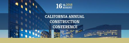 Construction Conference Announcement with Modern Glass Buildings Email header – шаблон для дизайну