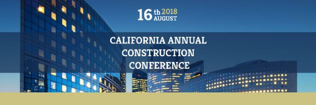 Plantilla de diseño de Construction Conference Announcement with Modern Glass Buildings Email header