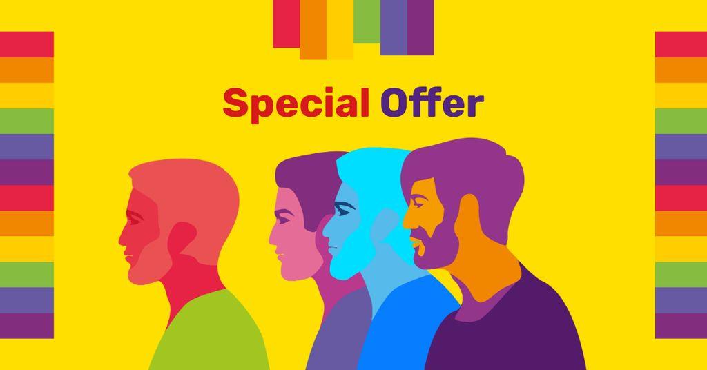 Diverse men rainbow silhouettes for Sale Offer — Modelo de projeto