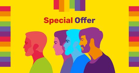 Template di design Diverse men rainbow silhouettes for Sale Offer Facebook AD