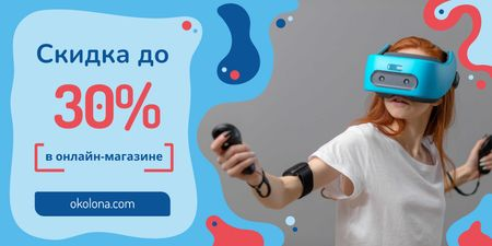 Tech Ad with Girl Using Vr Glasses in Blue Twitter – шаблон для дизайна