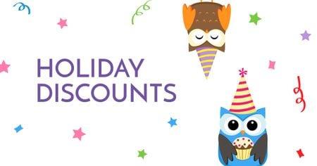 Holiday Discounts with Cute Owls Facebook AD Tasarım Şablonu