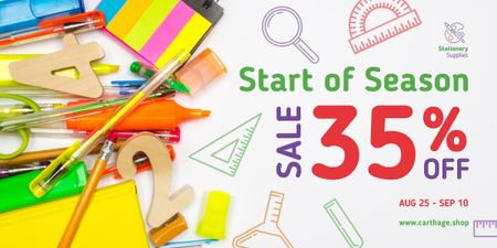Back to School Sale Stationery on White Image Design Template