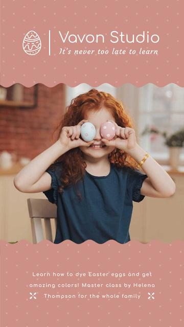 Ontwerpsjabloon van Instagram Video Story van Child with Easter eggs