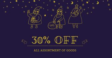 New Year Sale with Funny Santas