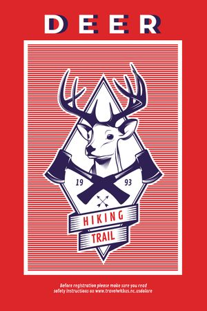 Hiking Trail Ad Deer Icon in Red Tumblr Design Template