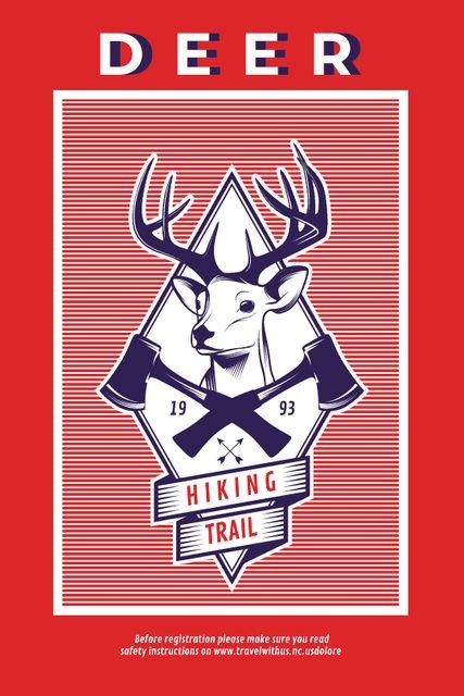 Hiking Trail Ad Deer Icon in Red Tumblr – шаблон для дизайна