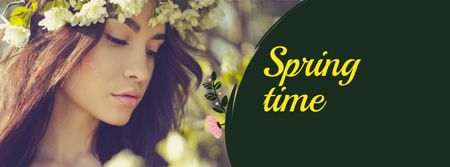 Plantilla de diseño de Beautiful Woman in Spring Flower Wreath Facebook cover