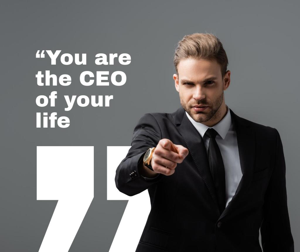 Business Quote with Man pointing Facebook Modelo de Design