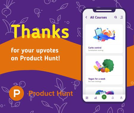 Product Hunt Online Courses Page on Screen Facebook Modelo de Design