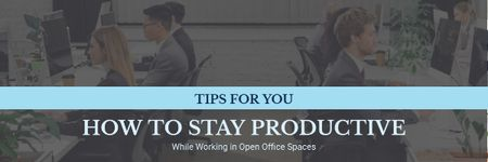 Designvorlage Productivity Tips with Colleagues Working in Office für Email header
