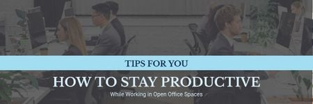 Modèle de visuel Productivity Tips with Colleagues Working in Office - Email header