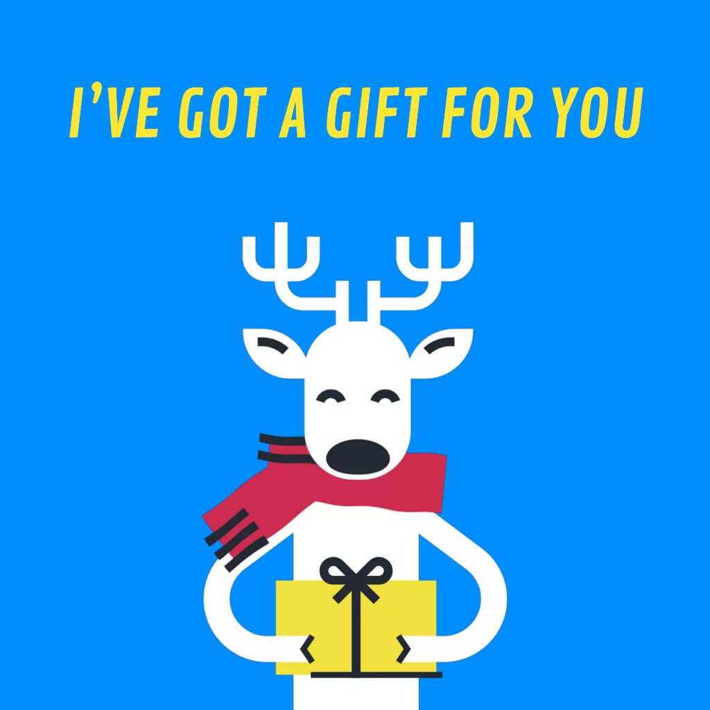 Christmas Deer With Gift in Hands — Crea un design