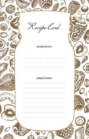 Modèle de visuel Fruits and Vegetables Graphic pattern - Recipe Card