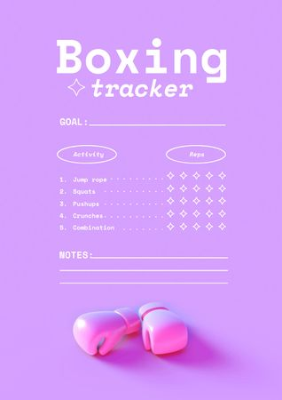 Boxing Tracker with Gloves Schedule Planner – шаблон для дизайна