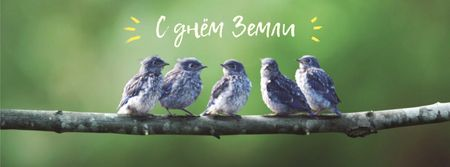 Earth Day Greeting with Birds on Branch Facebook cover – шаблон для дизайна