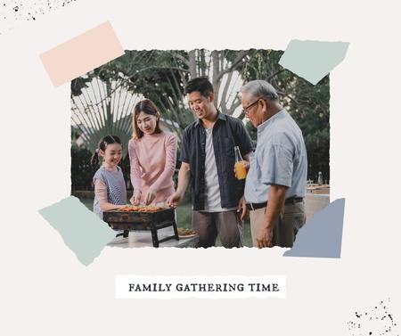 Plantilla de diseño de Family Gathering Time with People making Barbecue Facebook