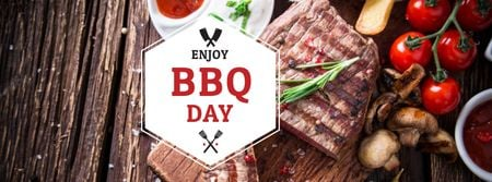 BBQ Day Announcement with Grilled Steak Facebook cover Modelo de Design